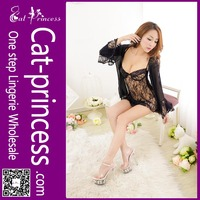 New style beautiful women black flower lace sexy nighty dress