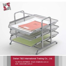 Office Supplies Desk 3 Tier File Organizer Metal Mesh File Case Document Holders