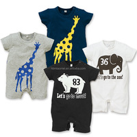 2016 summer design elephant baby romper new design short sleeve cotton catoon adult romper pattern