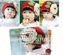 princess hat Handmade red Crochet Baby hat with white flower, Knitted Girls' Flower hat,Handmade kid's hat JPhat092