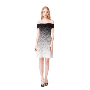 Women off neckline black and white gradient high waist sexy women's dress