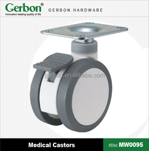 white color swivel top plate Plastic Medical Twin Wheel Caster