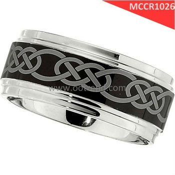Celtic Knot rings,fashion cobalt band with balck laser celetic knot pattern