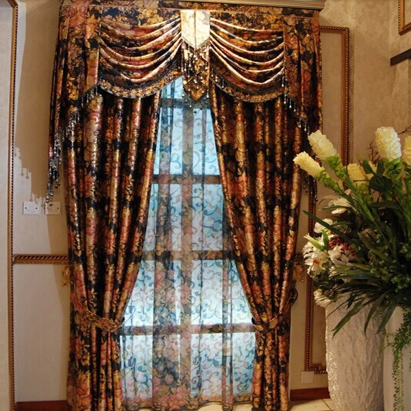 China Factory With Hot Selling Floral Printed Beaded Door Curtain