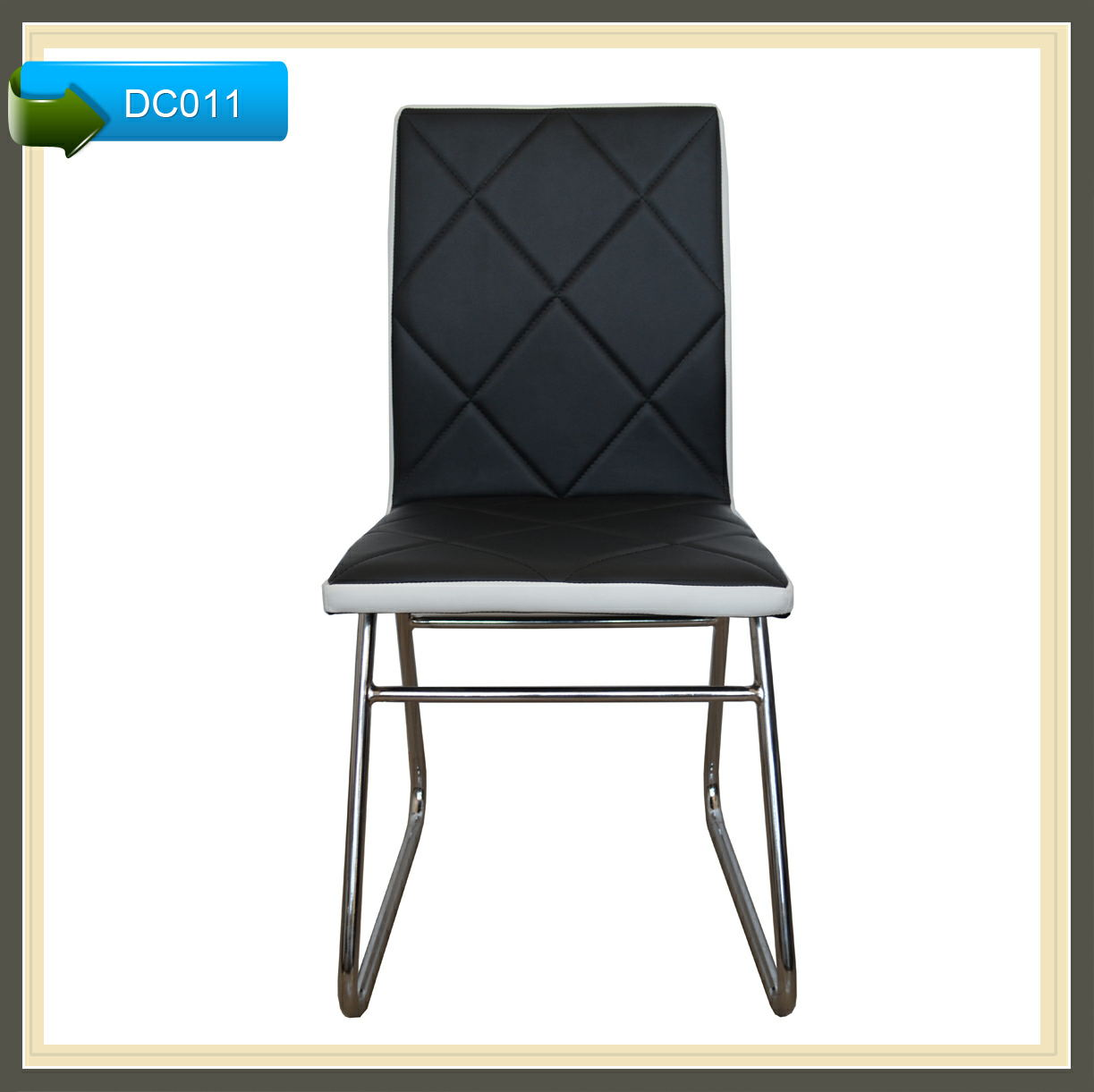 metal framed black leather z shape dining chairs and tables DC011
