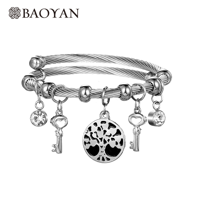 Baoyan 316L Stainless Steel Silver Color Family Tree of Life Charm Bangle for Women Wholesale Mixed Lots <strong>N1</strong>