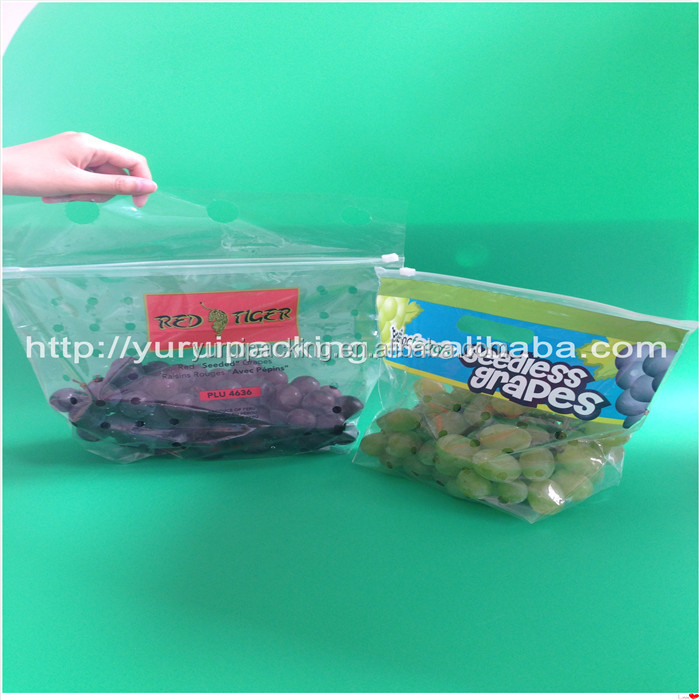 Low Density Polyethylene Vented Grape Bag with Slider Zipper