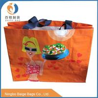 foldable designer laminated pp woven grocery tote shopping bags