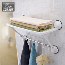 Adjustable 2 Layers Suction Cup Bathroom Towel Shelf Rack With 6 Plastic Hooks