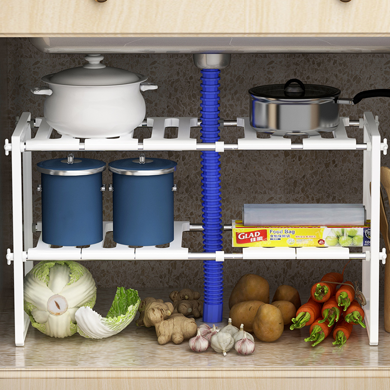 XM_432 2 Tier Metal&plastic Expandable kitchen accessories under sink <strong>shelf</strong>
