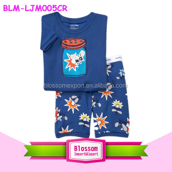 Hot sell toddler clothes nightwear Set boy family sleepwear pyjamas pattern short sleeves printed cartoon boy 2 pcs pajamas sets