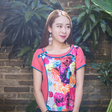 HongShang Chinese Ethnic Dress Summer Slim body short sleeve blouse Cotton Floral short sleeve blouse Make to order