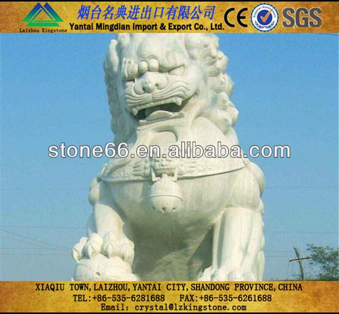Technology natural stone chinese marble fu dog statue