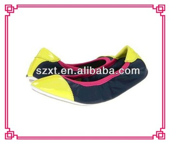 Famous brand ballet flat shoes foldable ballerina lady shoes