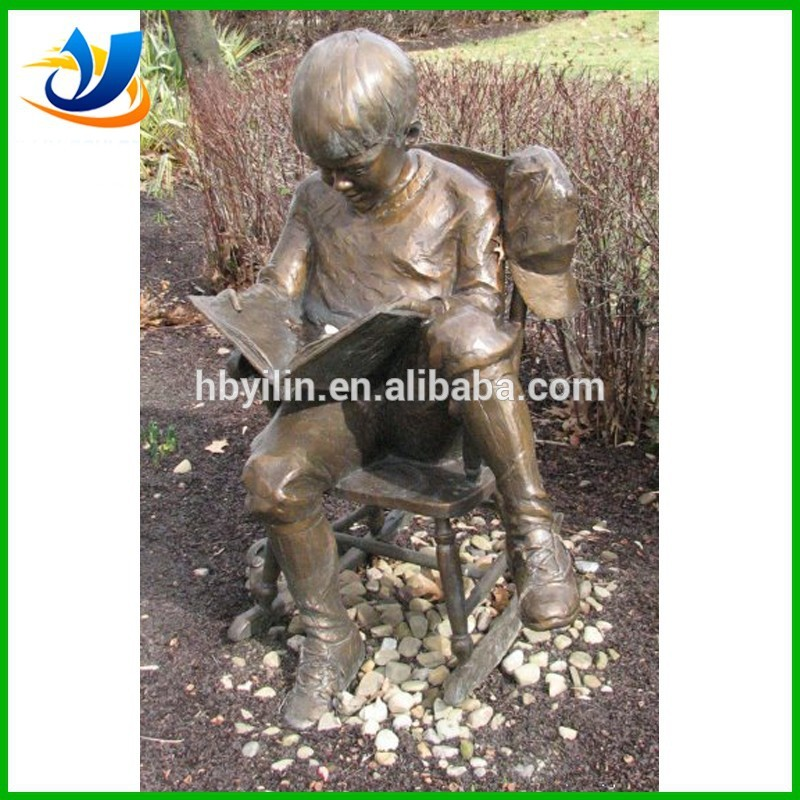 China Made Bronze Boy Reading Book Statue