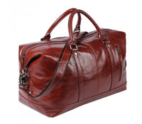 Genuine Leather Duffle Overnight Weekend Bag For Mens Travel Duffel Brown