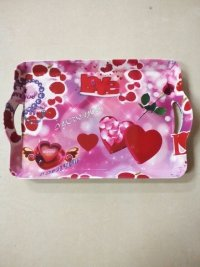 Hot selling plastic of Valentine's Day handle tray