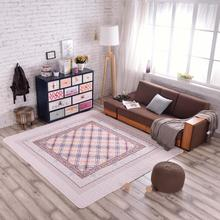 Brand New Tan Plaid Quilted Modern Cotton Rug