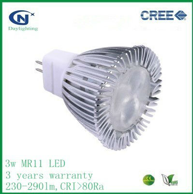 dimmable 12V AC/DC 3w mr11 led bulb with 3 years warranty