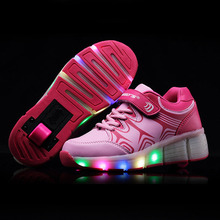 2016 Fashin Girls Roller Skates Kids Light Skating Shoes Children Luminous Roller Shoes Women Wheel Sneakers Roller Sport Shoes