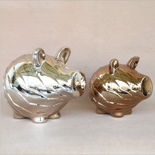 Special Chocolate color polished ceramic pig decoration