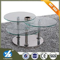Cheap smoked stainless steel glass coffee table