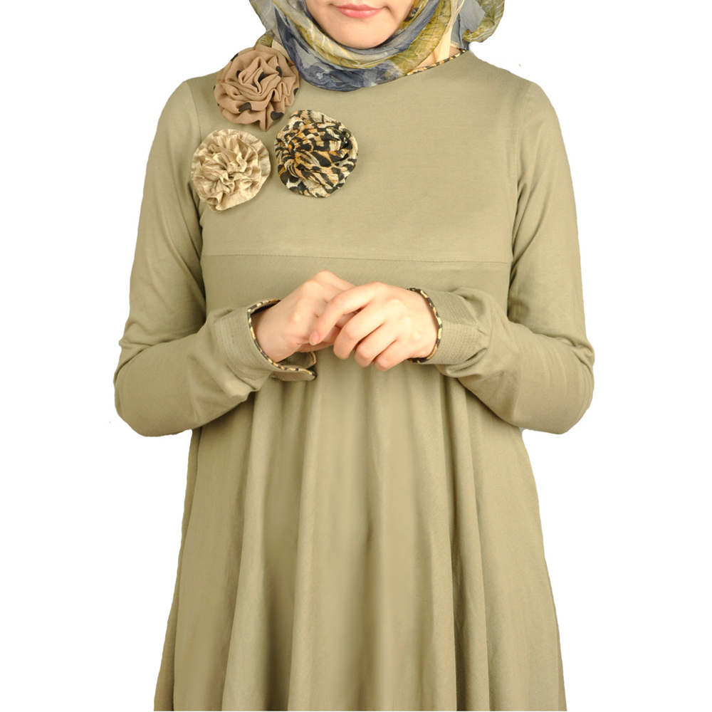 chest corsage with flared pea green kaftan dresses islamic clothing