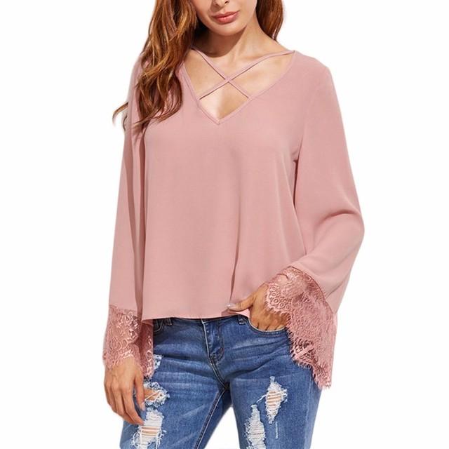 Women Korean Fashion Style Clothes Pink V Neck Lace Trim Top Blouse
