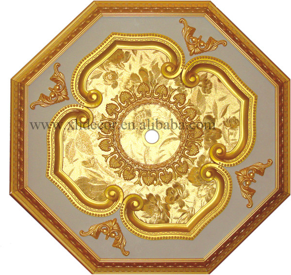 Luxury square PVC and wooden ceiling medallion not gypsum ceiling tiles