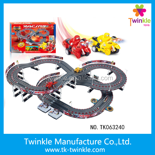 Kids high speed double car track rail with mini motorcycle play set toy