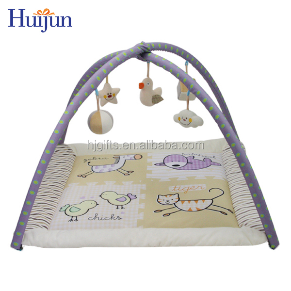 Hot sale cartoon hanging plush toy soft baby folding play mat