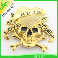 manufacture zinc Alloy buckle for man Gold Skull Design Buckle