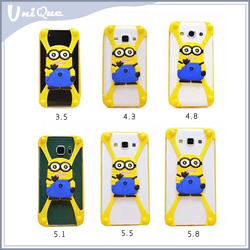 Chirtmas gift despicable me 3D sillicon cartoon case for 4 inch / 5.3 inch /5.5 inch,Cheap universal phone cover by factory