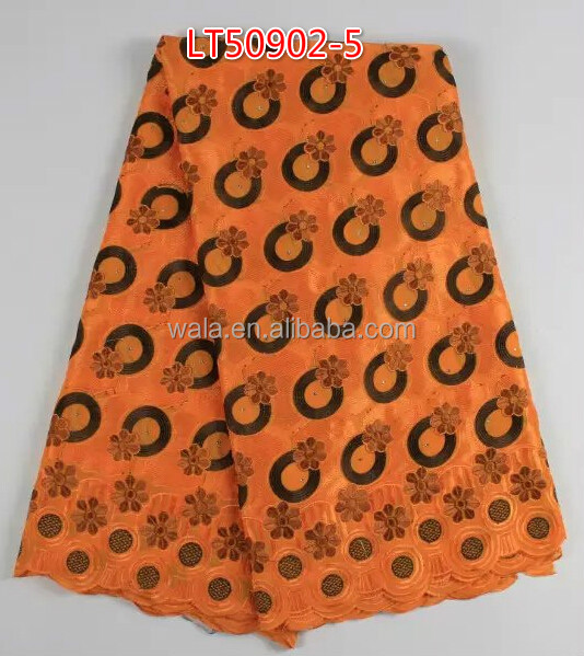 African swiss embroiderd voile lace fabric for wigs orange cotton swiss voile lace fabric for garment LT50902-5