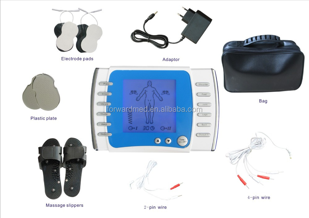 Digital of therapy of machine of massager instruction on with tens pads