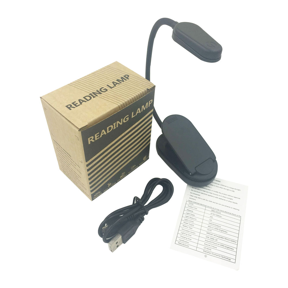 Amber Led Reading Light 1600K Table Lamp Led book Light 1000mah rechargeable battery included