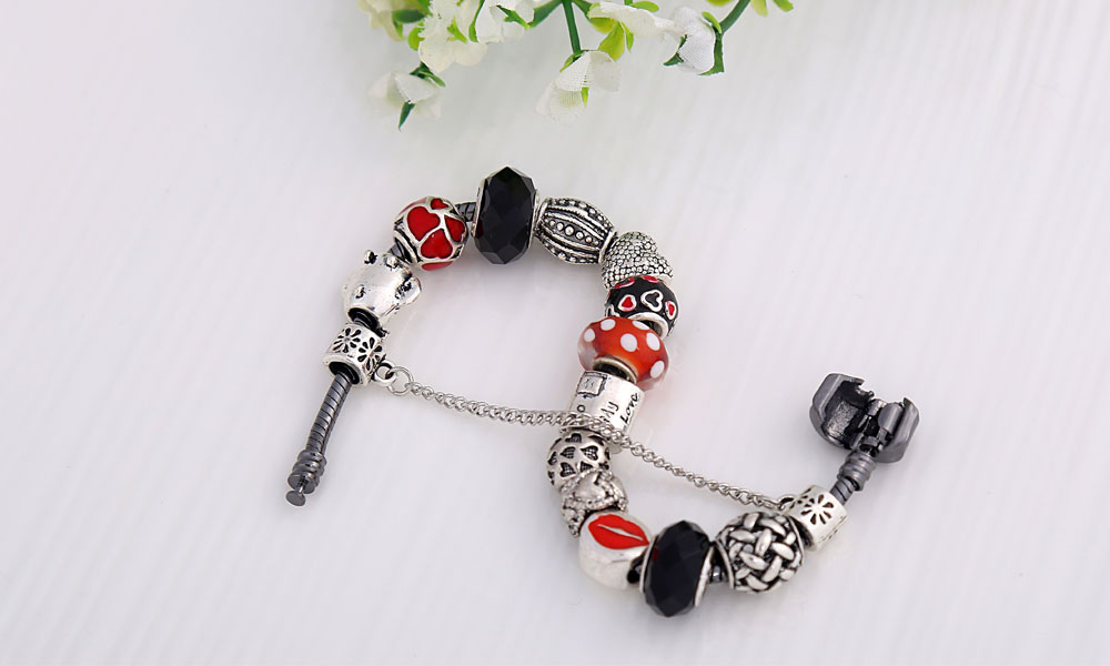 2017 new design bracelet gifts european big hole beads charms bracelet jewelry for girls
