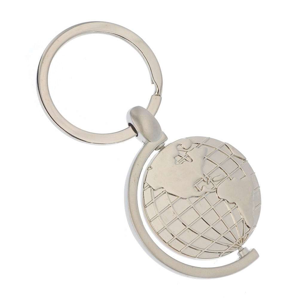popular round global metal keychain die cast keyring for wedding souvenirs