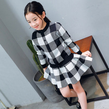 2017 baby se xy 2 piece Checked korean style pleated skirt casual kids fall clothing sets
