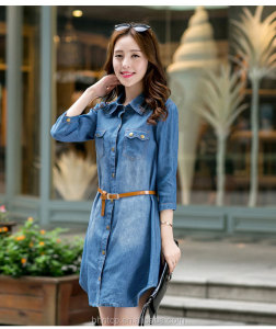 BHNB9828 Ladies fashion casual Denim dress with belt stock Available cheap women clothes