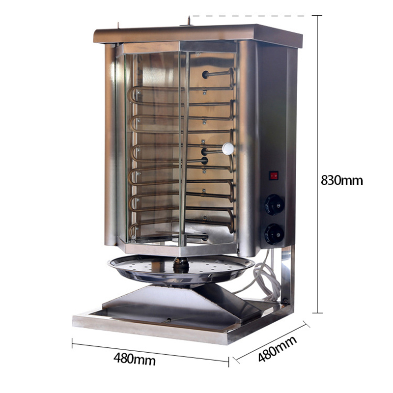 Glass Cover Middle East Electric Grill Vertical Broiler BBQ Grill Turkish Kebab Machine