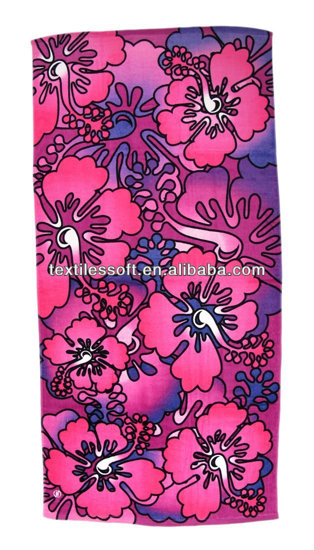 100% cotton Pink Purple Hibiscus Flowers printed velour beach towel