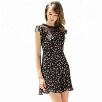 Summer Women Black Chiffon Boutique Splicing Sleeveless Printed Floral Fashion Custom Jersey Casual Dress