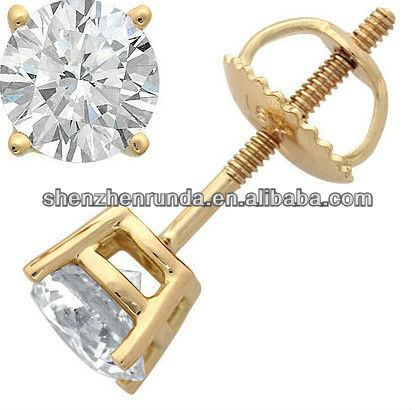 Gold-plated four claws prong setting zircon with stainless steel stud earrings for women's classics fashion jewellery accesories