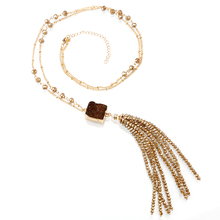 2018 Woman's gold-plated sweater chain the glitter faceted stone bead tassels necklace
