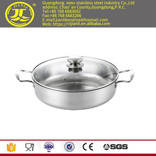 Pyrex lid hotpot fry pan Factory price kitchenware Stainless steel soup pan with laser polish