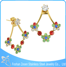 ZS20296 Innovative crystal ear jacket latest gold fantasy earrings wholesale