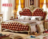 French Solid Wood Bed, Luxury Antique Bedroom Furniture 0311