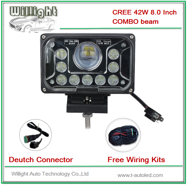 Square COMBO HI/LO BEAM 42w led working light crome front,auto led work light,8 inch 42w led work light