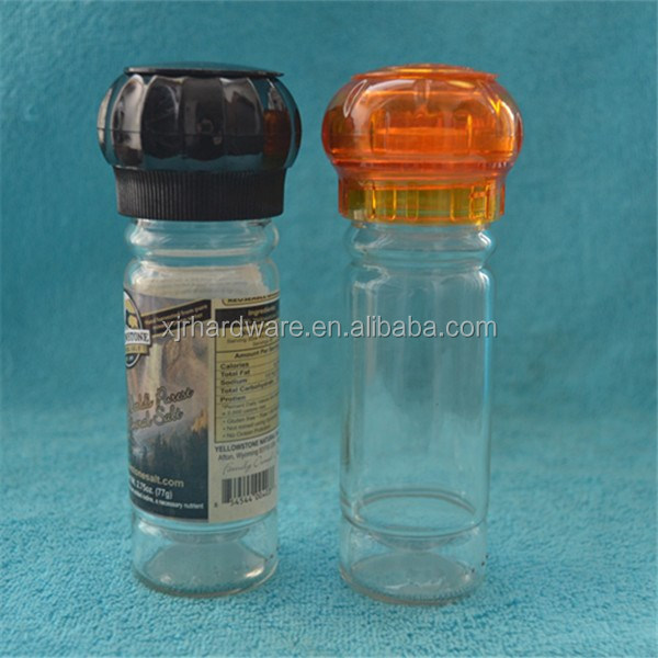glass spice bottle with grinder cap